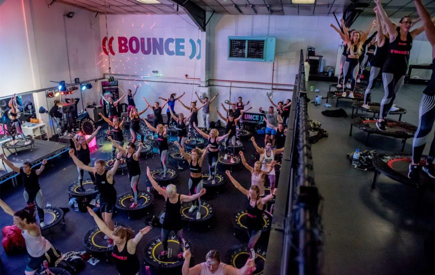 Bounce fitness class in cardiff for women. performed on mini trampolines
