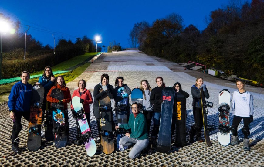 A group of women at Cardiff ski and snowboard centre for a women's snowboarding session with Letzshare