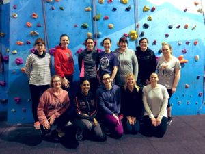 a group of women indoor climbing at boulders with Letzshare