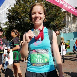 Nia Evans at Hanner marathon