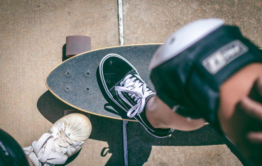 woman's foot on a skateboard